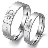 TITANIUM RING Cincin Couple Size 7(F) & 9(M) [GS235] - White & White - Cincin